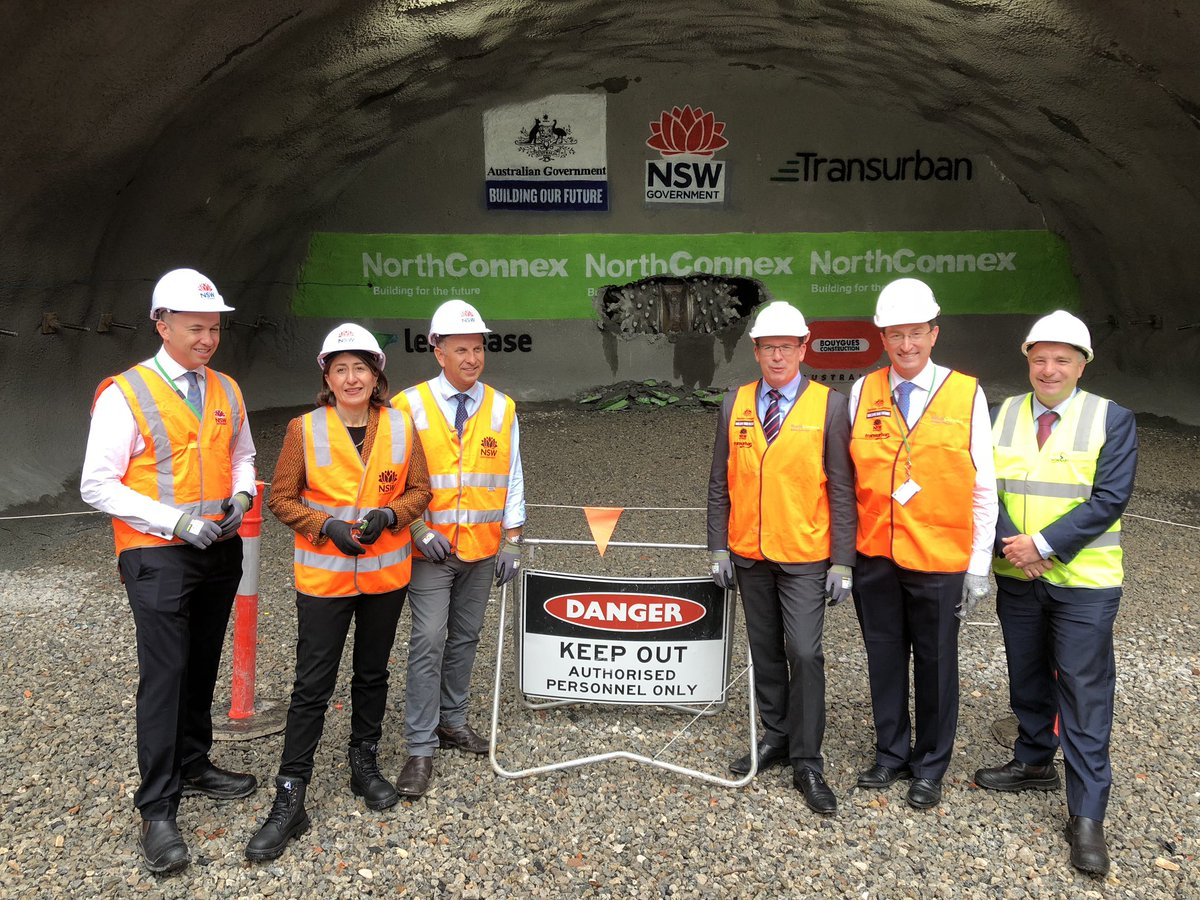 Minister Tudge at the final tunnel breakthrough