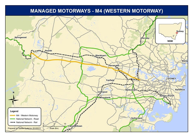 Map of Managed Motorways - M4 (Western Motorway)